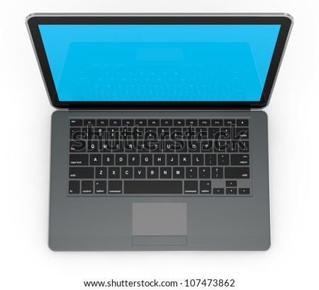 top view of a computer notebook (3d render) - stock photo