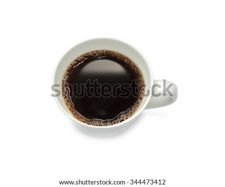 Top view of a cup of coffee, isolate on white background - stock photo