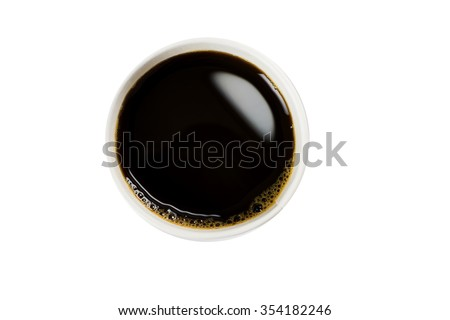 Top view of a cup of coffee, paper coffee cups - stock photo