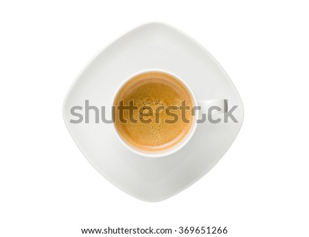 Top view of a cup of espresso coffee with saucer isolated - stock photo