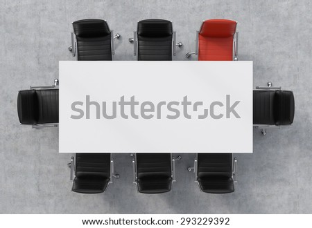 Top view of a 3d rendering conference room. A white rectangular table and eight chairs around, one of them is red. Office interior. - stock photo