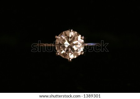 Top View of a Diamond Ring - stock photo