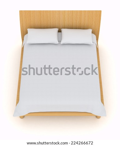 top view of a double bed with white pillows and blanket (3d render) - stock photo