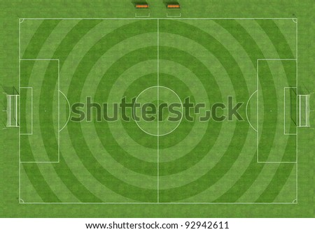 Top view of a football field with the grass cut circularly - rendering - stock photo