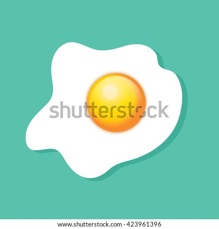 Top view of a fried egg, sunny side up, over turquoise background.  - stock photo
