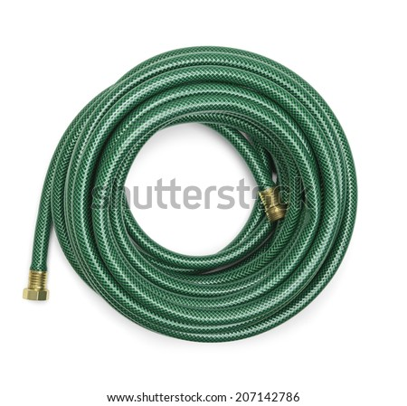 Top View of a Green Garden Hose Isolated on a White Background. - stock photo