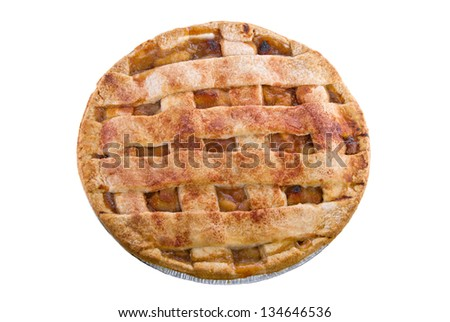 Top view of a homemade apple pie with a lattice pastry crust covered with cinnamon and granulated sugar. Isolated on a white background.