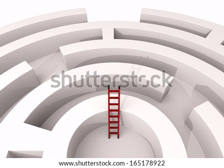 top view of a maze with a stair, concept of challenge and competition (3d render) - stock photo