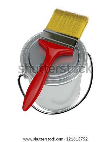 top view of a paint can with a red paintbrush (3d render)