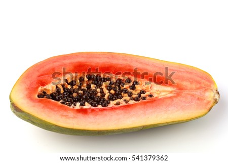 Top view of a papaya against a white background