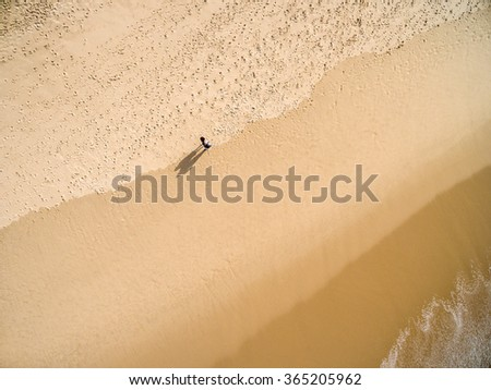 Top View of a Person in a Beach - stock photo