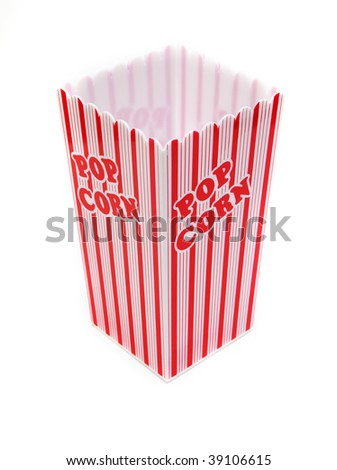 top view of a pop corn box isolated against white background - stock photo