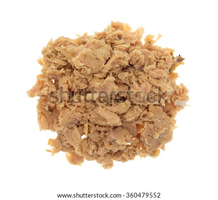 Top view of a portion of lemon pepper flavored tuna isolated on a white background.