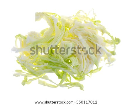 Top view of a portion of organic cabbage that has been sliced isolated on a white background.