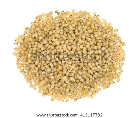 Top view of a portion of whole grain organic sorghum seeds isolated on a white background. - stock photo