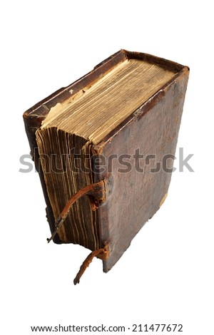 Top view of a retro leather-bound book isolated on a white background. - stock photo