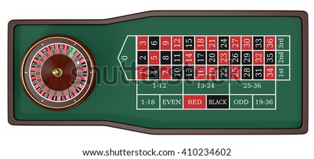 top view of a roulette table on white background (3d render)