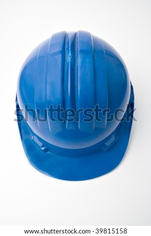 Top view of a safety blue helmet for workers - stock photo