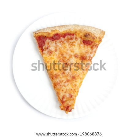 Top view of a slice of pizza - stock photo