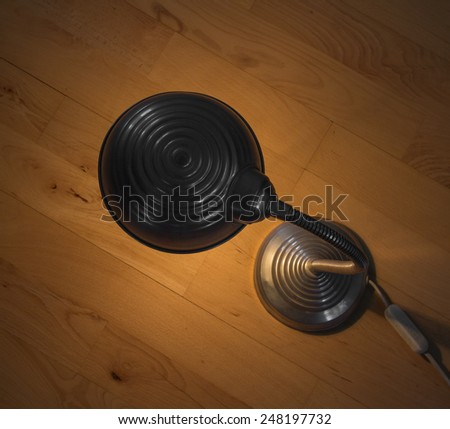 Top view of a small aluminum lamp - stock photo