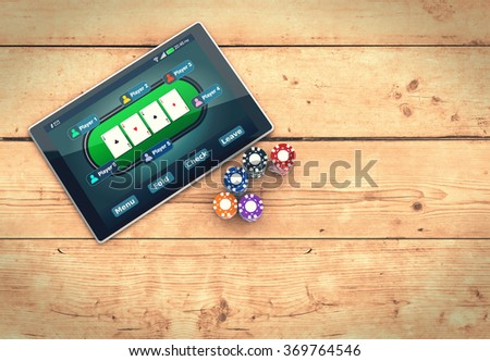 top view of a tablet pc with a poker app and stacks of poker chips on wooden background, empty space at the right (3d render)