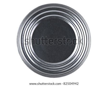 Top view of a tin can over a white background. - stock photo