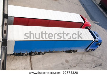 top view of a truck during loading - stock photo