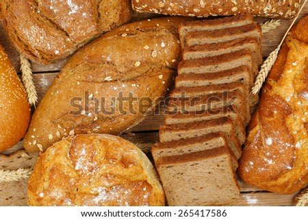 top view of a variety of whole wheat bread - stock photo
