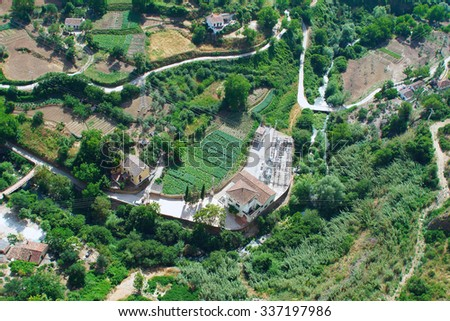 Top view of a village in Andalusia - stock photo