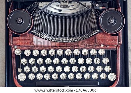 Top view of a vintage typewriter - stock photo