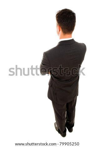 Top view of a yong business man from the back, isolated on white - stock photo