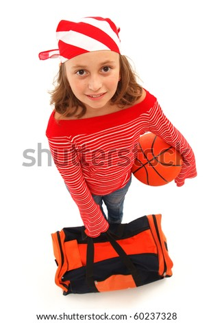 Top view of a young basketball player girl with ball and bag, wearing striped kerchief. Isolated on white - stock photo