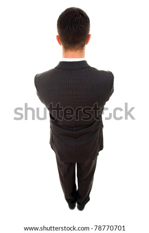 Top view of a young business man from the back, isolated on white - stock photo