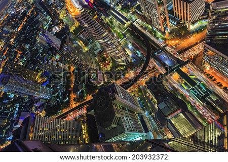 Top view of abstract cityscape - stock photo