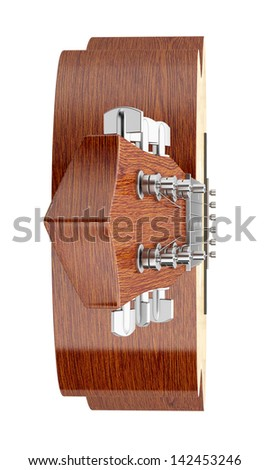 top view of acoustic guitar isolated on white background