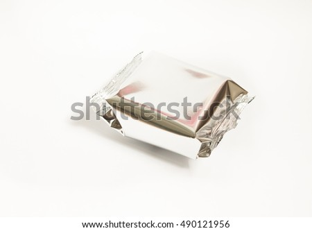 Top view of Aluminum foil bag isolated on white background.