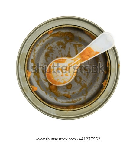Top view of an empty can of spicy chicken salad with a disposable plastic spoon isolated on a white background.
