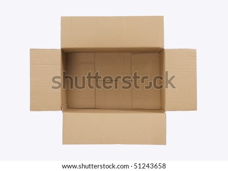 top view of an empty cardboard box - stock photo