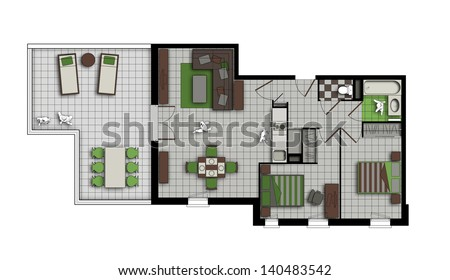 top view of an interior of three-room apartment with a terrace in grey, chocolate and green colors - stock photo