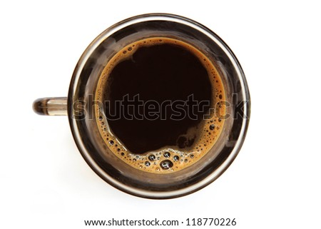 Top view of an isolated cup of coffee with some bubbles. - stock photo