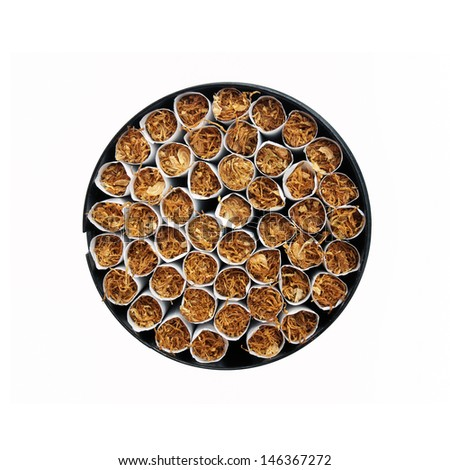 Top view of an open cigarette box on a white background. - stock photo