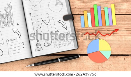 top view of an open paper notebook, a pen, business charts. hand drawn doodles of business plan,  wooden background (3d render) - stock photo