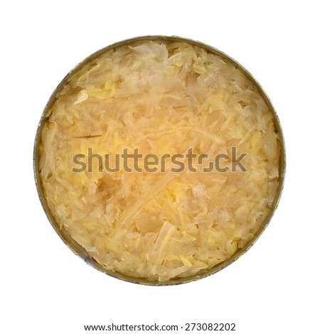 Top view of an opened tin of canned sauerkraut on a white background.