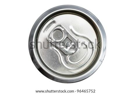 Top view of an unopened drinks can over white