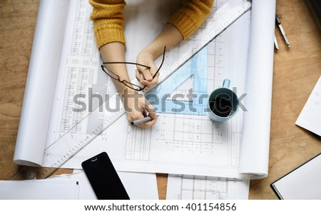 Top view of architect drawing on architectural project. retro style - stock photo