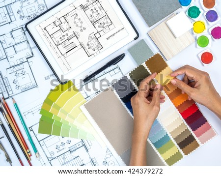 Working In Interior Design top view architects hands drawing modern stock photo 304391486