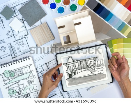 Top view architects interior designers hands stock photo 323399870 shutterstock for Best tablet for interior designers