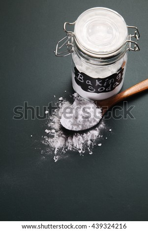 top view of baking soda on the blackboard