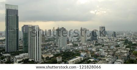 top view of Bangkok city - stock photo