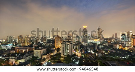 top view of bangkok city at night